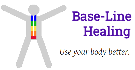 Base-Line Healing logo. Stick figure with arms outstretched above shoulder height, legs apart. Rainbow of colours up midline. Red at pelvic floor Base then a line of orange, yellow, green blue extending to the head. Showing the body aligned and balanced, the natural way to treat fibromyalgia. Use your body better slogan.